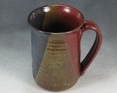 Blue Red and Yellow Mug Coffee Cup 14 - 16 Ounce  Handthrown Stoneware Pottery 43