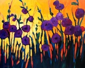 Purple Poppies at Sunset, Commissioned painting by Patty Baker