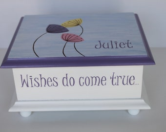 Baby keepsake box Wishes do come true Memory Box personalized baby gift hand painted