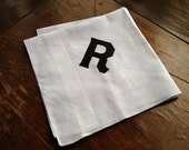 Initial handkerchief. One custom initial white pocket square. Angular Block font, single letter 100% cotton hanky. Choose A-Z & print color.