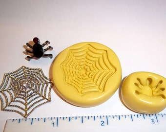 Spider & Web Flexible Push Molds For Resin Polymer Candy Chocolate - Food Safe Silicone Mold  M640