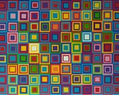 ORIGINAL Rainbow Colors Painting Modern Abstract Optical Squares 18x24 Colorful Wall Art Acrylic on Canvas