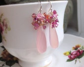 Pink Gemstone Cluster Earrings Chalcedony, Ruby, Tourmaline, Spinel