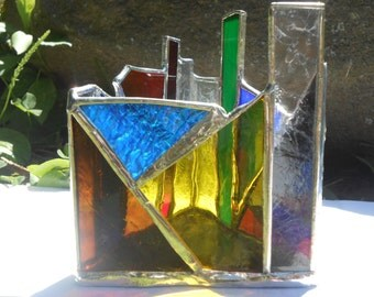 Dark & Stormy Triangle Shaped Rainbow Themed Stained Glass Candle Holder tealight holder Man Cave Gifts for Him ooak votive office studio
