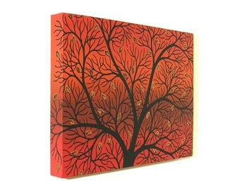 Autumn Tree Silhouette acrylic painting - black branches with copper leaves against an orange red background, original tree canvas art