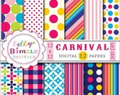 80% off CARNIVAL digital paper with polka dots, stripes in red, orange, blue, Instant Download, scrapbook papers, pink