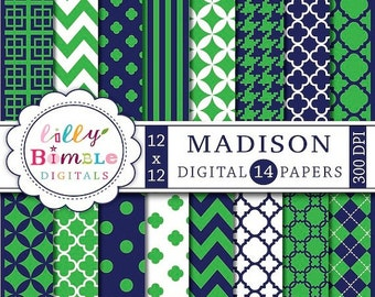 80% off Navy Blue and green digital papers preppy scrapbook papers MADISON Instant Download commercial use
