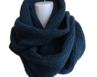 Alpaca Infinity Scarf Navy Blue Loop SAMANTHA Ready to Ship Gift for Her Gift for Him