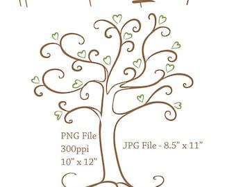 Tree Clip Art | PNG and JPG Digital Download Files | Heart Tree | Digital Craft Supplies | Scrapbooking Embellishments | Graphic Art | Art