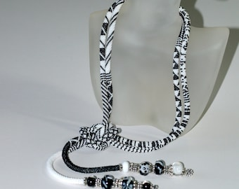Beguiled by Black and White ... Bead Crochet Lariat . OOAK Necklace . Patterned Necklace . Seed Bead Jewelry . Geometric . Lampwork Beads