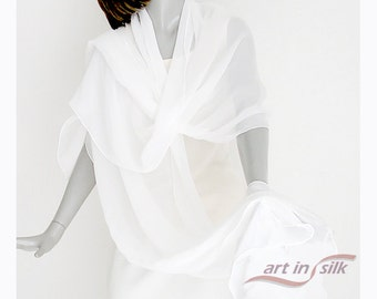 "Bridal Coverup, White Silk Shawl, Wedding Wrap, Long Crepe Shawl, Soft White, 21 x 84"", Tall Bride, Evening Special Occasion, Plus Size M L."