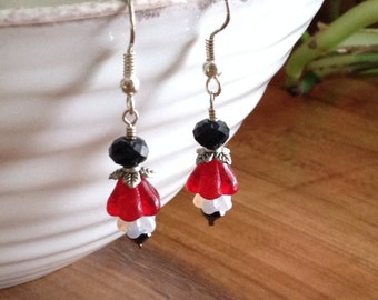 Red, Black and White Glass Flower and Crystal Earrings