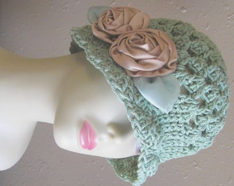 Handmade Sage Green Natural Cotton Cloche 1920s Flapper Sun Hat Beige Flowers