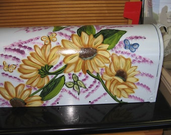 Hand Painted Sunflower And Butterfly Design Mailbox Handpainted Sunflowers Steel Mailboxes