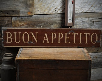 Buon Appetito Wood Sign - Rustic Hand Made Vintage Wooden ENS1000196