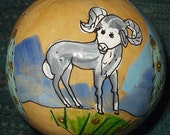 "Hand-Painted Gourd Christmas Ornament by artist Sandy Short. ""Bighorn sheep""."