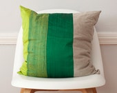 Striped Pillow in Green Colorblock Silk and Linen Pillow - 18 Inches