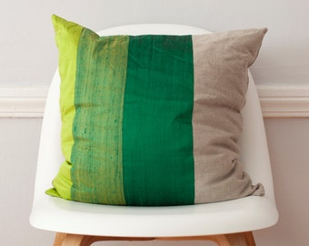 Striped Pillow in Green Colorblock Silk and Linen Pillow - 18 Inches LAST ONE!