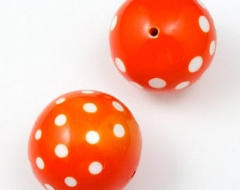 30mm Orange and White Harlequin Dot Bead #2062