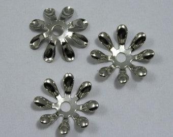 15mm Vintage Silver Eight Petal Flower Filigree (6 Pieces) #1303
