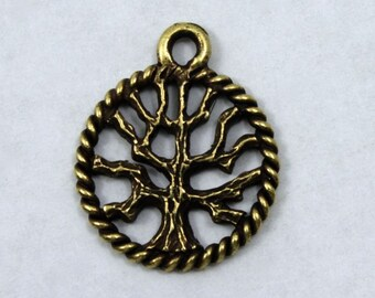 15mm Antique Brass Tree Charm #CMB756