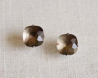 glacier . charcoal // grey cushion cut stud earrings . smoky grey square stud earrings . simple square earrings