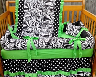 SALE!! READY to SHIP!! New 6 Piece Black White Polka Dot Zebra and bright green Crib Bedding Set