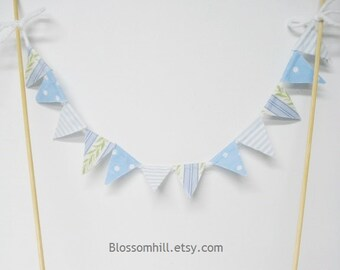 Fabric cake topper bunting - blue and white