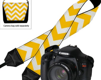 CLEARANCE Yellow Chevron Camera Strap Dslr Cute Colorful Slr Digital Camera Padded Strap Nikon Canon etc RTS