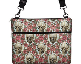 MacBook Case, 13 inch Laptop Cover w/ Cross Body Strap, MacBook Air 13 Sleeve, Goth Skulls, 13 Laptop Case  MacBook Pro / Air / Retina RTS