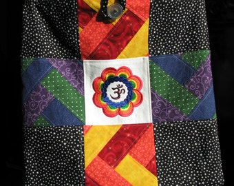 Om Flower Rainbow Patchwork with Corduroy Bag Purse