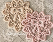 Hand dyed lace heart appliques