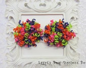 Mardi Gras Petite Korker Set, toddler girl hair bows, pigtail bows, big girl bows, birthday girl, bright bows, international shipping