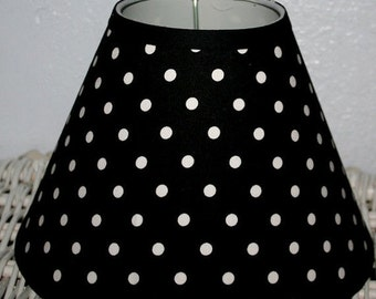 ON SALE Addison Black and White Polka Dot lampshade lamp shade mw Pottery Barn PB Teen Fabric Dottie, Any Color Trim, 4 Sizes