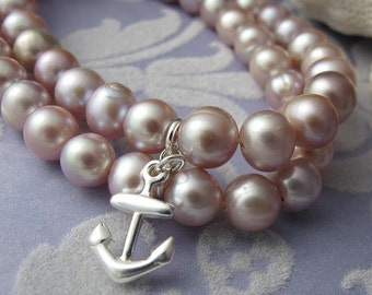 Rosy - pink round fresh water pearl bracelet