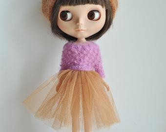 Babydoll TUTU Skirt for Blythe-Sandybrown