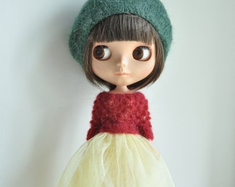 Babydoll Longhair Angola Wool Beret for Blythe Doll- forest green