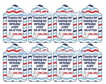 Personalized  Digital Anchors Away Sailor Nautical Treat Bag Tags