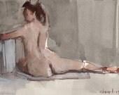 Original Nude Figure Painting Sketch - 30 Minute Pose