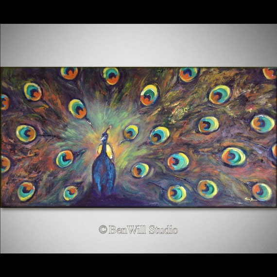 PEACOCK Art ORIGINAL Large COLORFUL Painting - Oil Painting - 48x24 - Fine Art by BenWill