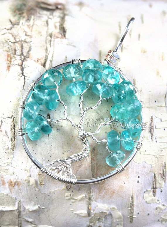 Caribbean Blue Apatite Tree of Life Pendant Gemstone Silver Wire Wrapped Jewelry Birthstone Necklace Beachy Ocean Sea Blue Tropical RTS