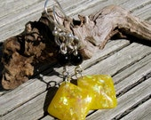 Silver and Sparkling Yellow Resin Earrings