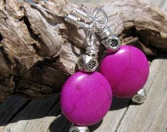 Fuchsia and Silver Dangle Earrings