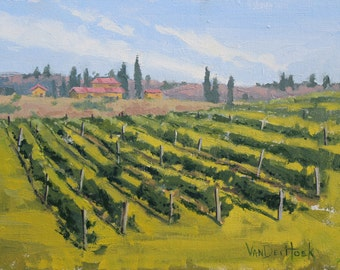 Summer Vineyard - 9 x 12 Inch Original Oil Painting of a Vineyard - Family Room Decor - Wall Decor