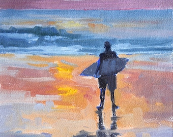 Until Tomorrow - 8 x 6 Inch Small Original Oil Painting of a Surfer - Sunset Beach Painting - Surfer Painting - Wall Decor
