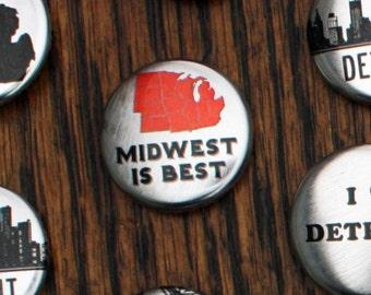 Metallic Midwest Is Best Pins - Set of Three