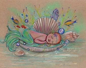 open edition aceo trading card mermaid baby 2.5x3.5 inches by renee