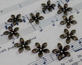 Flower Bead Caps - 100 pcs. - Antique Bronze Bead Caps - Filigree Bead Caps - Iron Bead Caps - 15 mm Bead Caps - Bendable Bead Caps