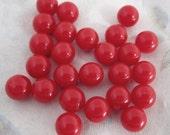72 pcs. vintage plastic red no hole balls 8mm - f4386
