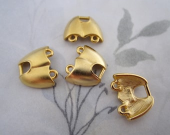 6 pcs. matte gold tone 2 strand necklace ends 17x15mm - f4162